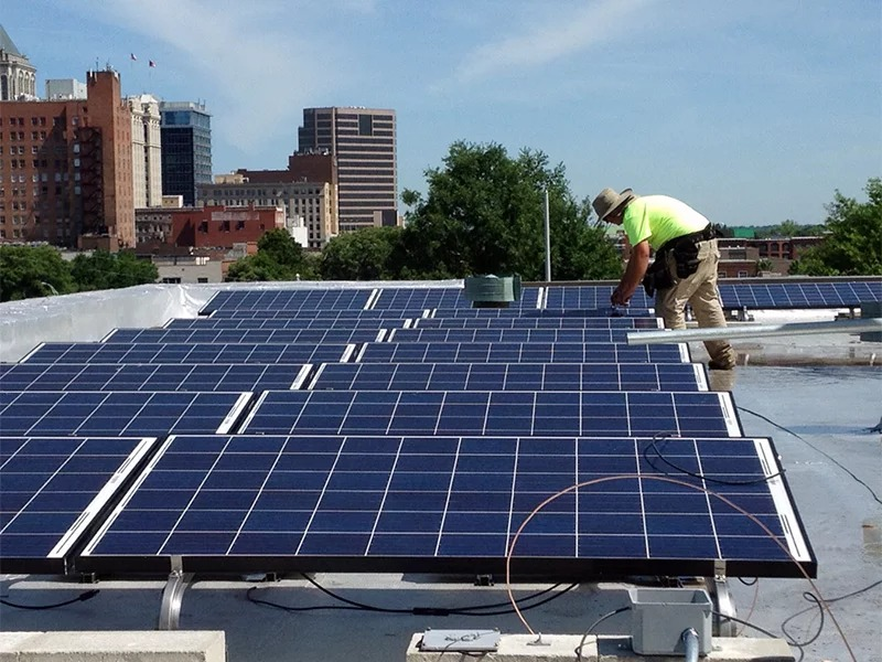 Solar panels are installed on the roof of Faith Community Church in Greensboro, N.C., in May 2015. Photo courtesy of NC WARN