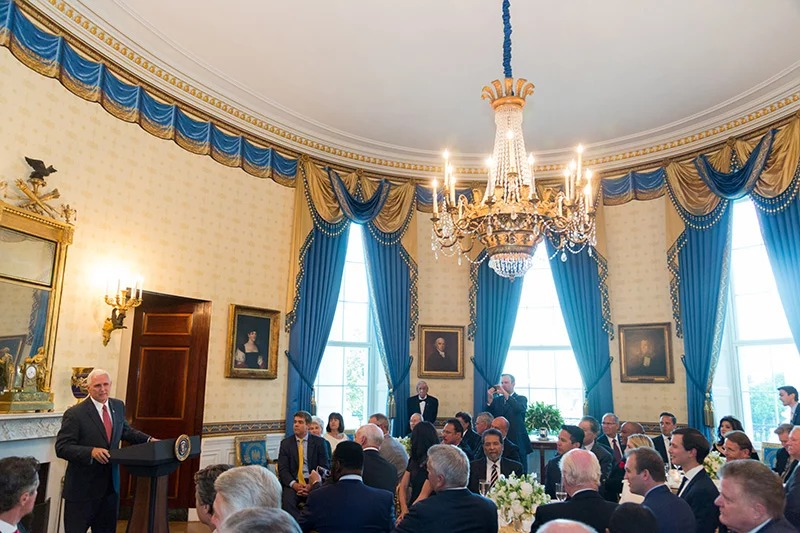 Vice President Mike Pence delivers remarks during a dinner with religious leaders on May 3, 2017, in the Blue Room of the White House in Washington.  Photo by Shealah Craighead/White House