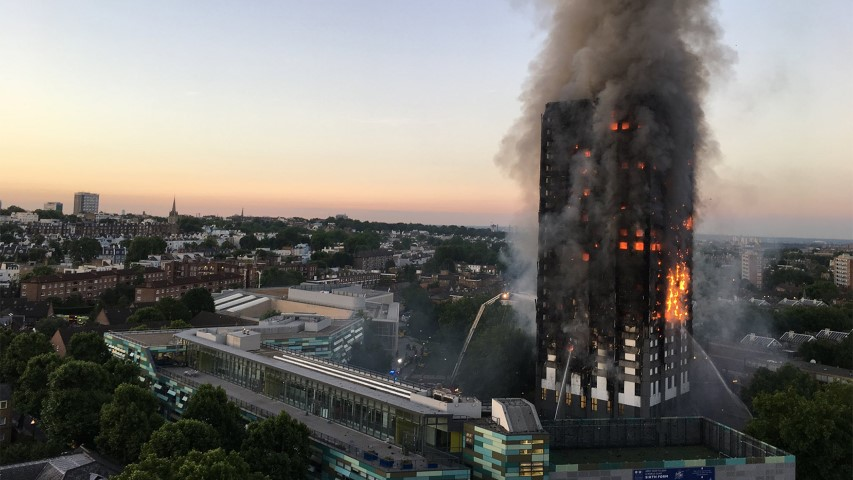 Grenfell Tower is engulfed in flames early June 14, 2017, in North Kensington in west London. Photo by Natalie Oxford/Creative Commons