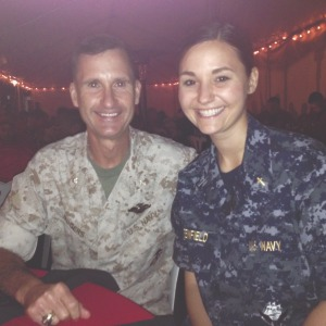 Alan Rogers and Sarah Greenfield share a moment at the Marine Corps Trials in Camp Pendleton, Calif., where the dad-daughter chaplain duo had the unique opportunity to minister alongside each other.