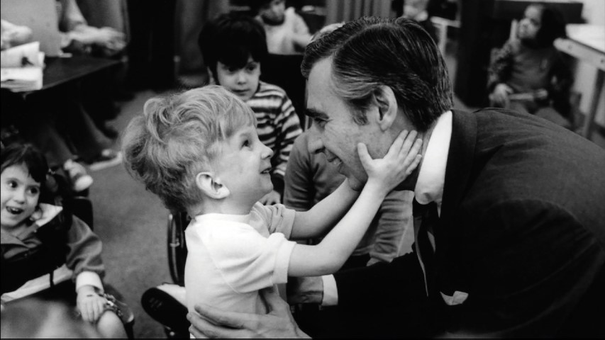 "Fred Rogers meets with a boy who has a disability in the film ""Won't You Be My Neighbor?,"" a Focus Features release. Photo by Jim Judkis via Focus Features"