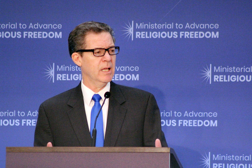 Sam Brownback, U.S. ambassador-at-large for international religious freedom, gives opening remarks at the Ministerial to Advance Religious Freedom at the State Department on July 24, 2018. RNS photo by Adelle M. Banks