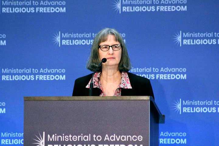 Jamie Powell, wife of the Rev. John Cao, explained her husband's arrest by Chinese border police to the Ministerial to Advance Religious Freedom at the State Department on July 24, 2018. RNS photo by Adelle M. Banks