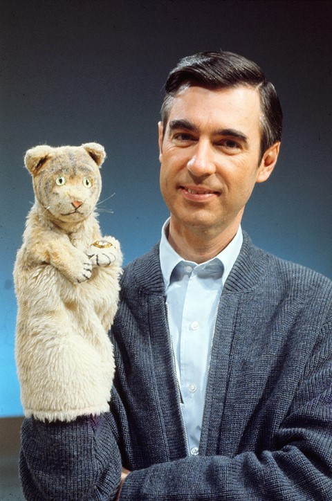 "Fred Rogers with Daniel Striped Tiger from his show ""Mister Rogers' Neighborhood."" Photo by John Beale via Focus Features"