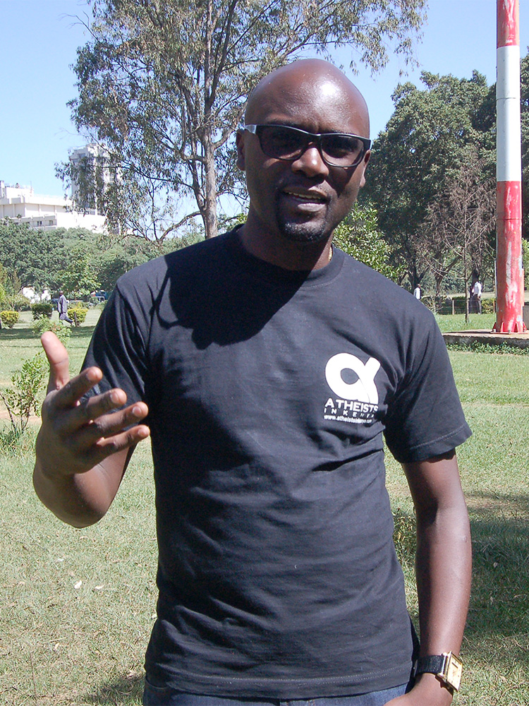 Harrison Mumia, president of Atheists in Kenya, in Nairobi. RNS photo by Fredrick Nzwili
