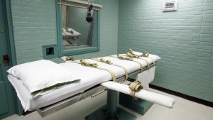 The gurney in the death chamber is shown in this May 27, 2008 file photo from Huntsville, Texas. Texas has held more executions than any other state in recent years. (AP Photo/Pat Sullivan)