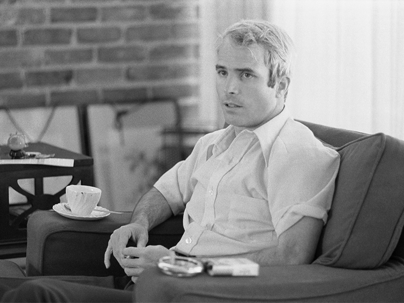 John McCain in an interview on April 24, 1973, shortly after his release from a Vietnamese POW camp. Photo by Thomas J. O'Halloran/LOC/Creative Commons