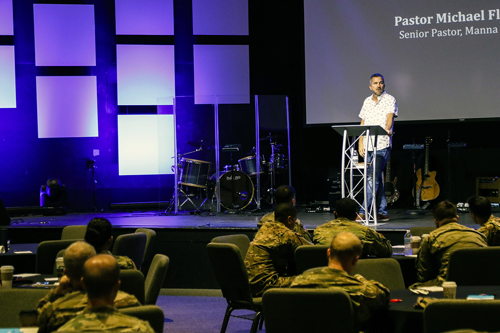 Manna Church pastor Michael Fletcher addresses the U.S. Army Special Operations Command Chaplains Conference in Fayetteville, N.C., in July 2018. Photo courtesy Manna Church