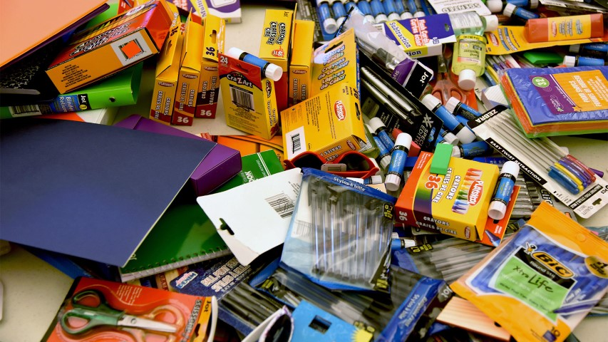 An assortment of donated school supplies. Photo by Kemberly Groue/U.S. Air Force/Creative Commons