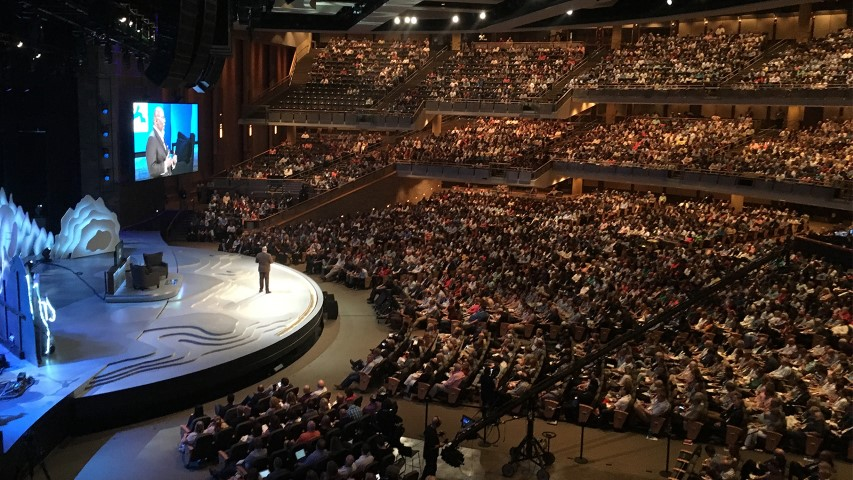 The Global Leadership Summit kicked off Aug. 9, 2018, on the main campus of Willow Creek Community Church in South Barrington, Ill. The megachurch has been in turmoil for months since sexual misconduct allegations against its founder, Bill Hybels, have come to light. Photo courtesy of Global Leadership Summit