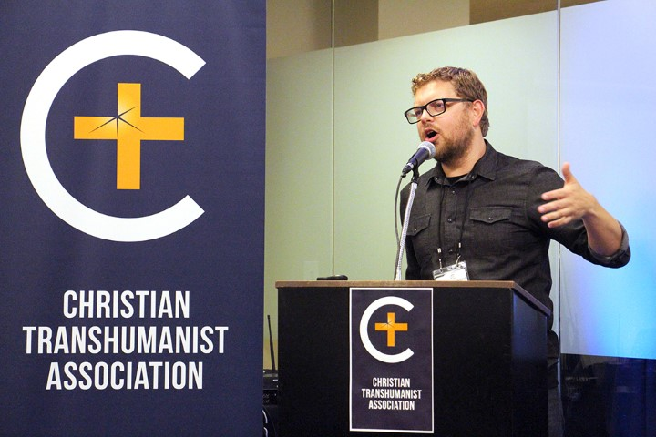 Christian Transhumanist Association director Micah Redding opens the Christian Transhumanist Conference in Nashville on Aug. 25, 2018. RNS photo by Emily McFarlan Miller