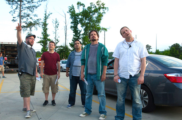 """Director Andy Erwin (far left) is joined on the set of the 2014 film """"Mom's Night Out"""" with actor Sean Astin, actor Robert Amaya, producer/actor Kevin Downes and director Jon Erwin. The Erwins and Downes are forming a new filmmaking company, Kingdom, that will produce multiple faith-based movies and be distributed by Lionsgate. Erwin Brothers photo"""