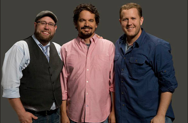 """Andy Erwin (far left), Kevin Downes, and Jon Erwin have formed a new faith-based filmmaking company, Kingdom, that will release multiple movies by different directors in what Jon Erwin calls a """"leap forward"""" in faith moviemaking. Lionsgate will distribute them. Kingdom will announce its first slate of movies in March at the National Religious Broadcasters convention. Erwin Brothers photo"""