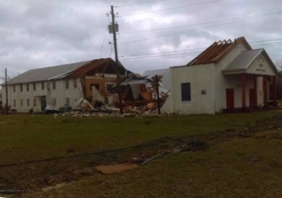 The west campus of Family of God Baptist Church in Panama City, Fla., had its fellowship hall destroyed by Hurricane Michael. Submitted photo.