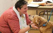 Kate Fields during a Blessing of the Animals service. (Underwood Memorial Baptist Church)