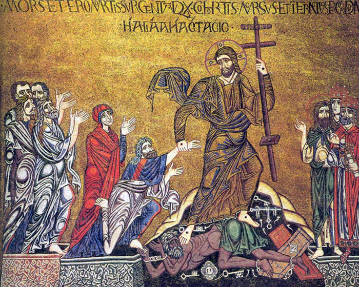 """Early Christians portrayed hell through different terms. Here is """"The Harrowing of Hell,"""" an old Icon painting. Image courtesy of Creative Commons"""