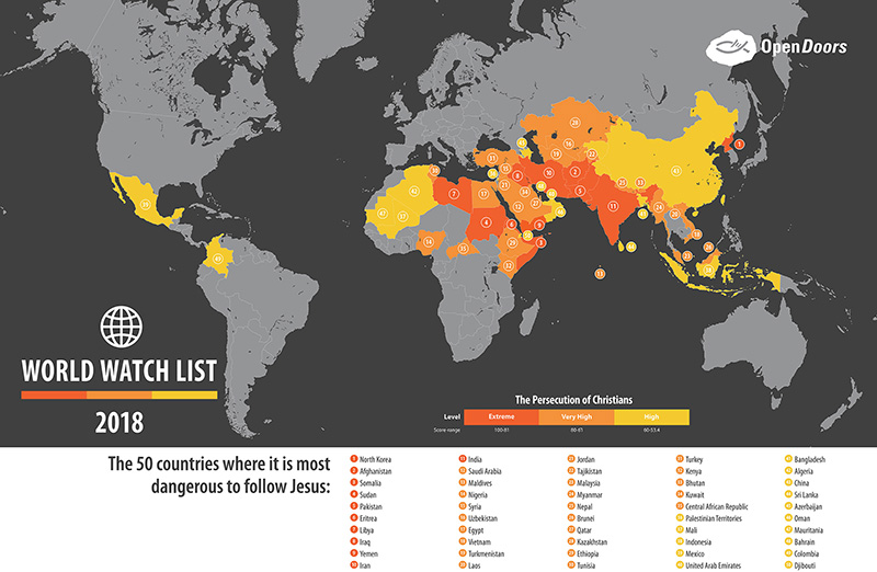 The 2018 World Watch List compiled by OpenDoors where Christians are most persecuted. Map courtesy of OpenDoors