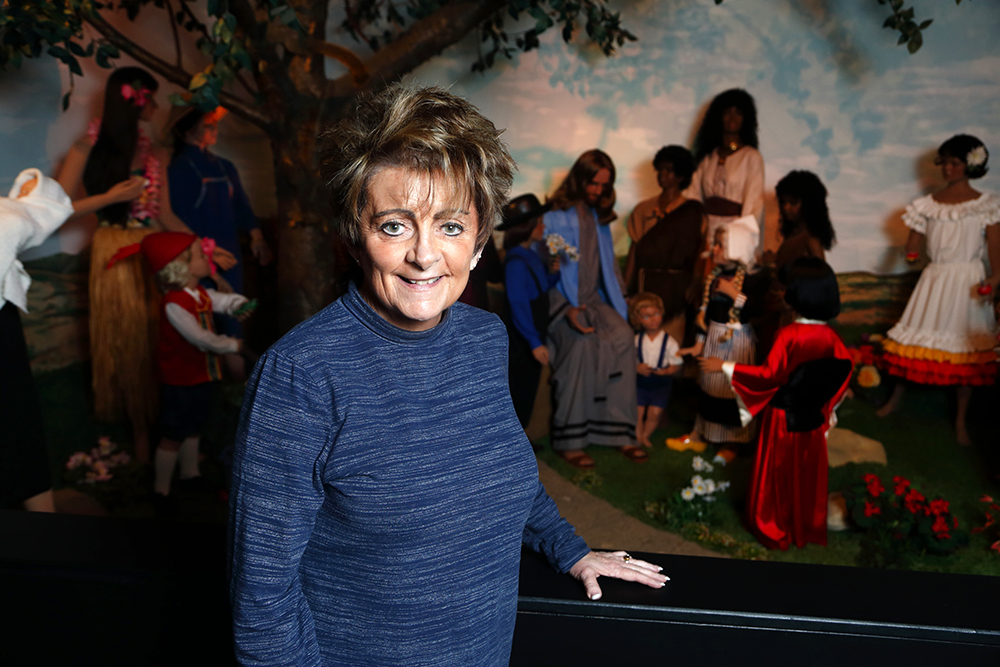 BibleWalk director Julie Mott-Hardin in front of the Jesus and the Children display at the religious wax museum in Mansfield, Ohio, on Sept. 28, 2018. This display is made of museum quality fiberglass and is one of two scenes that have remain unchanged since 1987. RNS photo by Paul Vernon