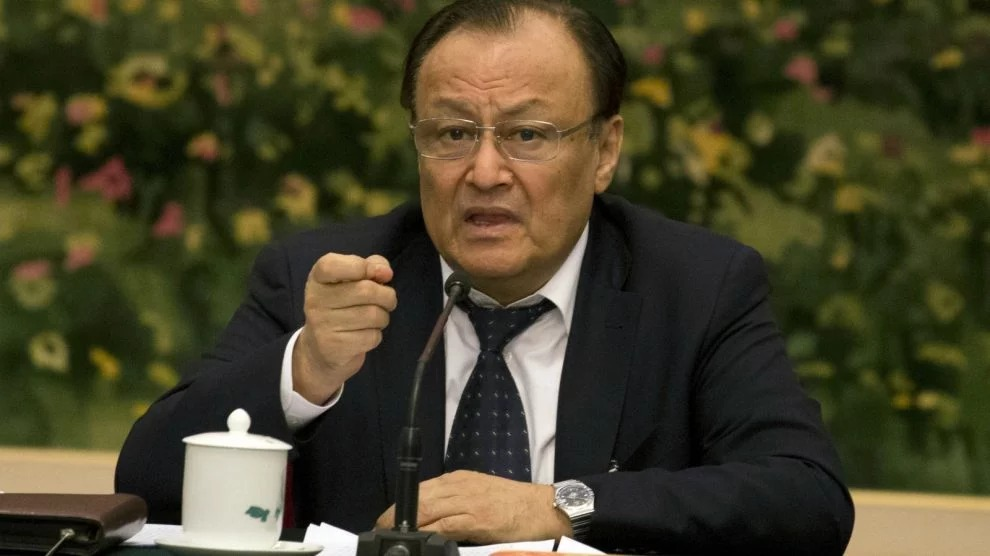 Shohrat Zakir, chairman of the Xinjiang Uyghur Autonomous Region, speaks on the sideline of the National People's Congress in Beijing, China, Sunday, March 12, 2017. China's ruling Communist Party is hardening its rhetoric about Islam, with top officials making repeated warnings this past week about the specter of global religious extremism seeping into the country. (AP Photo/Ng Han Guan)