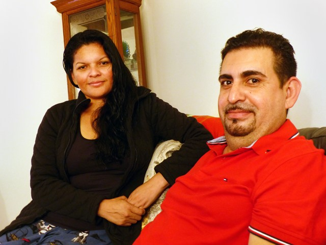 Roberto Rauda, a recently released detainee and undocumented immigrant, with his wife, Emma Castillo, in New England on Oct. 11, 2018. RNS photo by Tom Verde