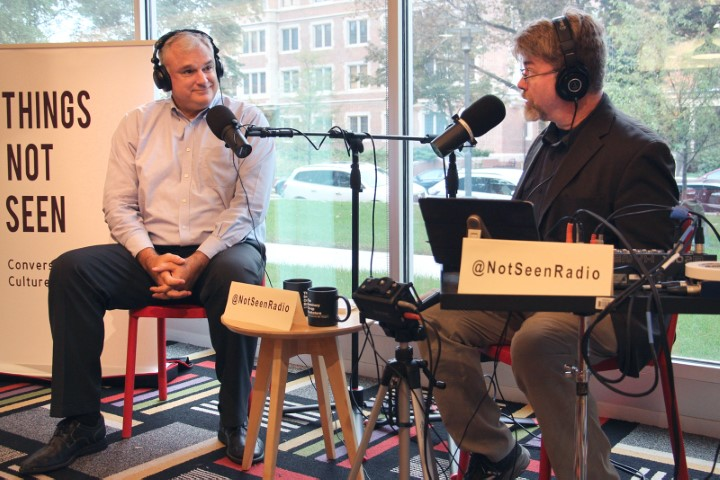 """Historian John Fea, left, joins """"Things Not Seen"""" podcast host David Dault for a recording of the show at Seminary Co-op Bookstore on the University of Chicago campus on Sept. 24, 2018. RNS photo by Emily McFarlan Miller"""