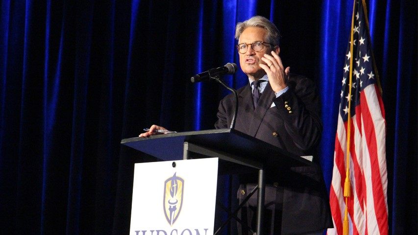 Eric Metaxas speaks at Judson University's annual Constitution Day chapel service on Sept. 26, 2018, in Elgin, Il., near Chicago. RNS photo by Emily McFarlan Miller