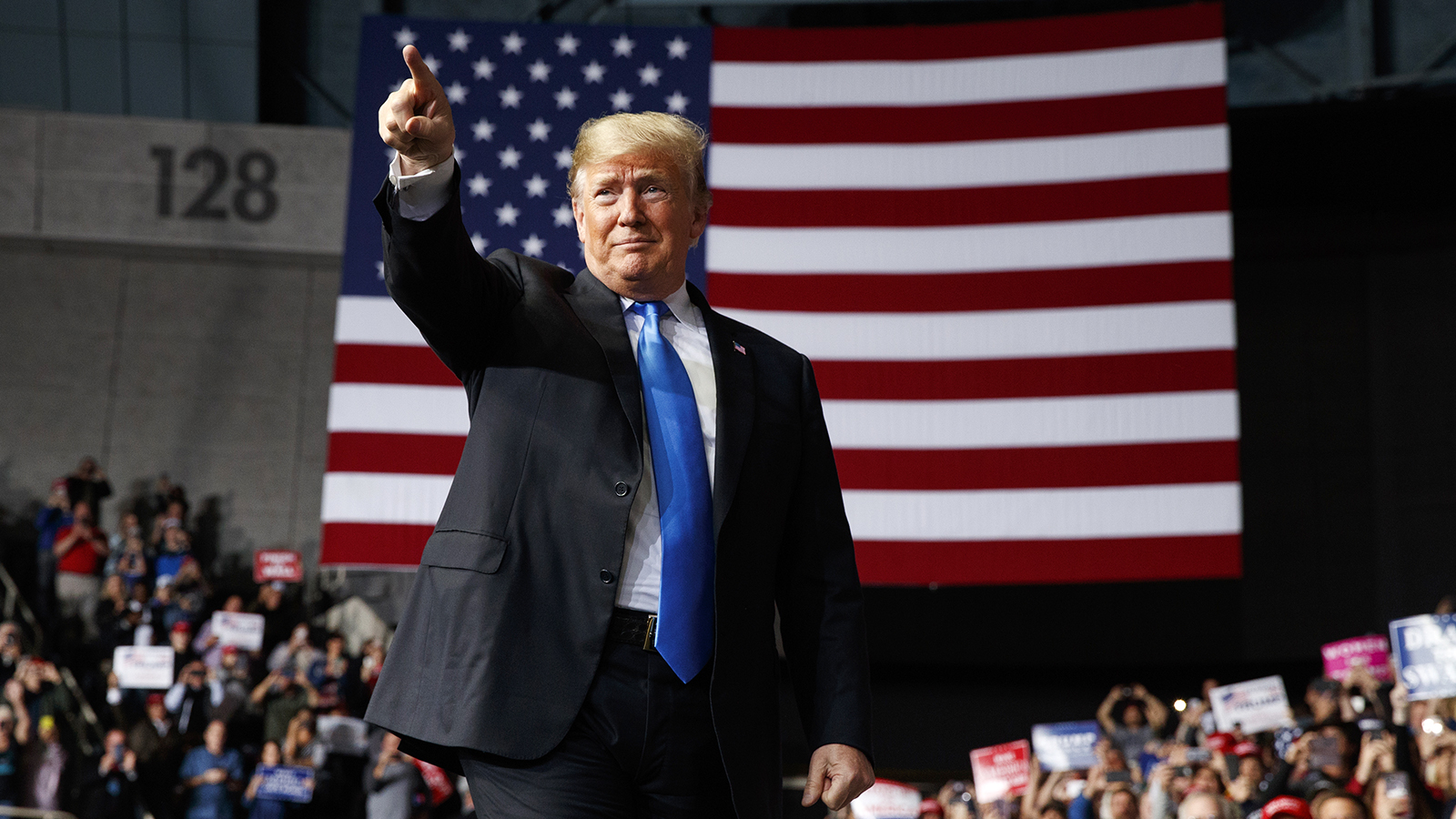 President Trump arrives to speak at a campaign rally at Bojangles' Coliseum on Oct. 26, 2018, in Charlotte, N.C. (AP Photo/Evan Vucci)
