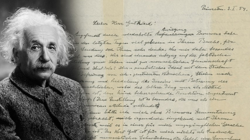 """Albert Einstein, in 1947, with the famous """"God letter"""" he penned in 1954. Einstein photo courtesy of Creative Commons; letter photo courtesy of Christie's"""