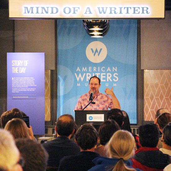 "Science-fiction author John Scalzi speaks about his new book ""The Consuming Fire"" on Oct. 22, 2018, at the American Writers Museum in Chicago. RNS photo by Emily McFarlan Miller"