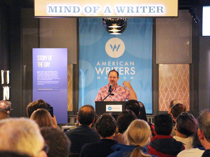"""Science-fiction author John Scalzi speaks about his new book """"The Consuming Fire"""" on Oct. 22, 2018, at the American Writers Museum in Chicago. RNS photo by Emily McFarlan Miller"""