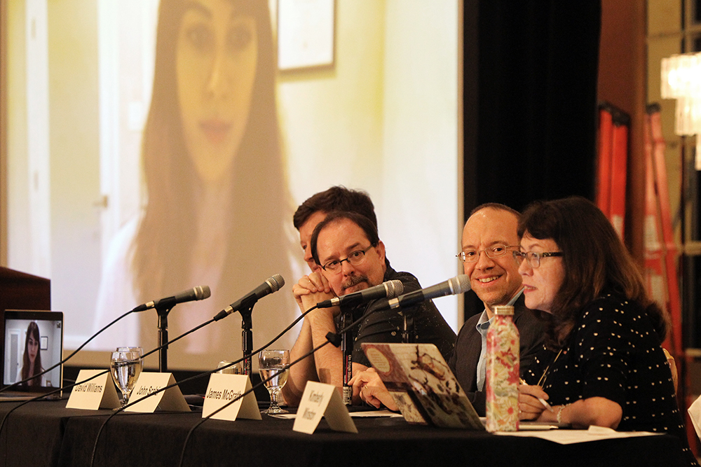 "John Scalzi, left, participates on the panel ""Close Encounters of the God Kind: Religion in Science Fiction"" during the 2018 Religion News Association Conference on Sept. 13, 2018, in Columbus, Ohio. Kimberly Winston, right, moderated the panel that also included James McGrath, second right, David Williams and Farah Rishi. RNS photo by Kit Doyle"