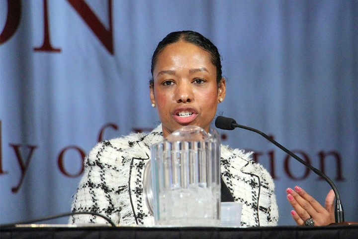 "Larycia Hawkins, who teaches seminars in the religious studies and politics departments at the University of Virginia, speaks on a plenary panel titled ""The Public Religion Scholar in a Social Media Age: Risks, Rewards, Reverberations"" on Nov. 19, 2018, at the AAR annual meeting in Denver. RNS photo by Emily McFarlan Miller"