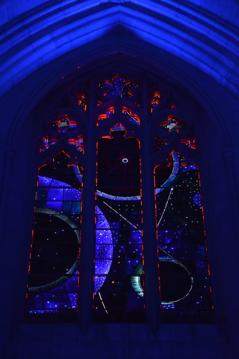 """The """"Space Window"""" of the Washington National Cathedral contains a piece of moon rock collected during Apollo 11. RNS photo by Jack Jenkins"""