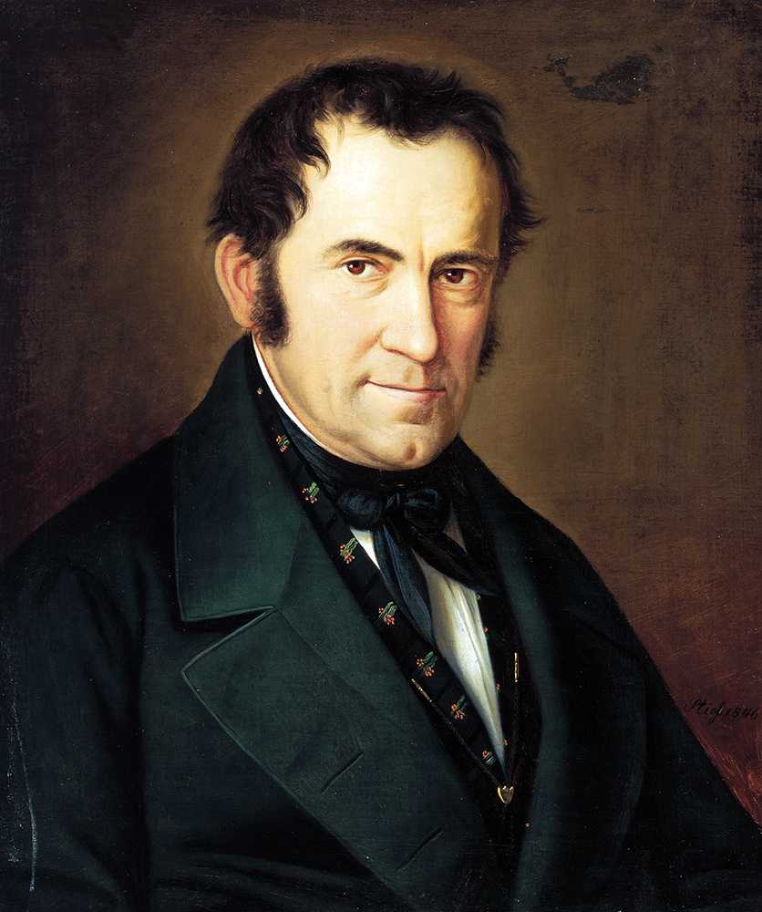 """Franz Gruber, the composer of """"Silent Night,"""" in a portrait by Sebastian Stief. Image courtesy of Creative Commons"""