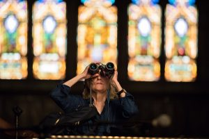 binoculars in church