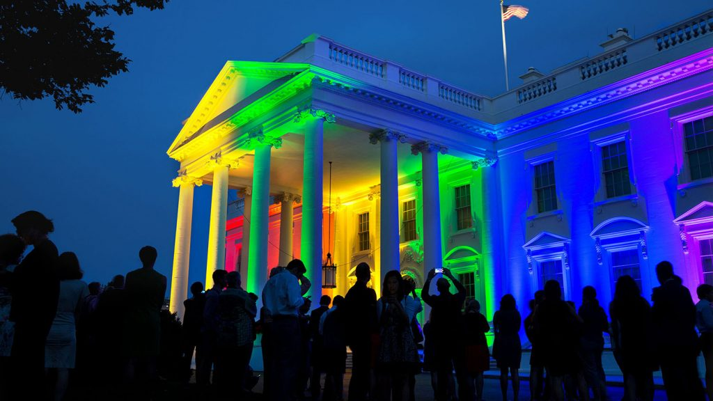 White House with rainbow colors