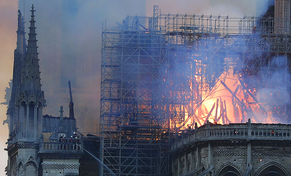 Notre Dame cathdral on fire