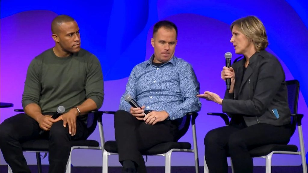 DeVon Franklin, from left, Jeff Lockyer and Danielle Strickland