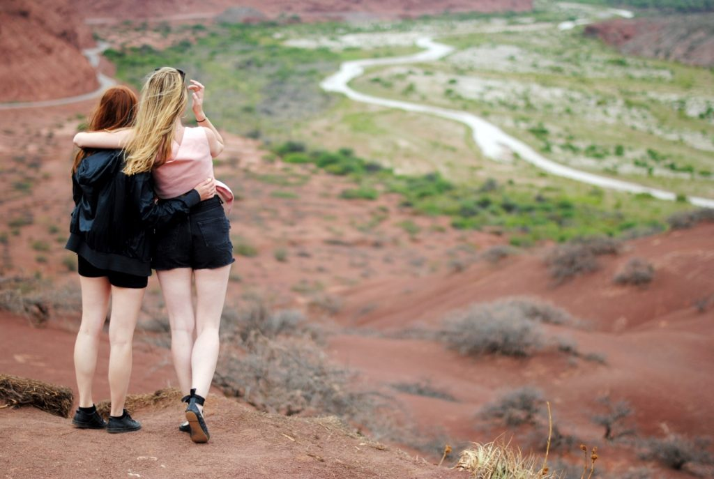 two women and path