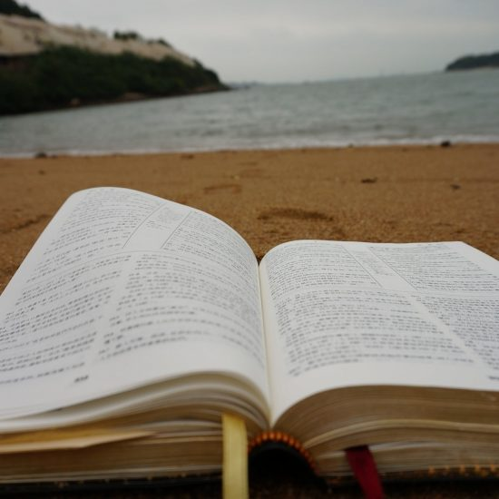 Bible on beach