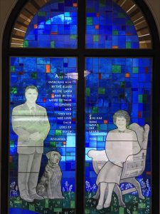 Paige and Dorothy Patterson in stained glass