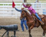 Paisley Kelso riding and roping