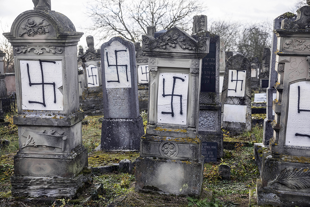 Desecrated Jewish tombstones