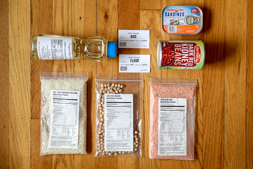 Sample contents of a Ration Challenge refugee box