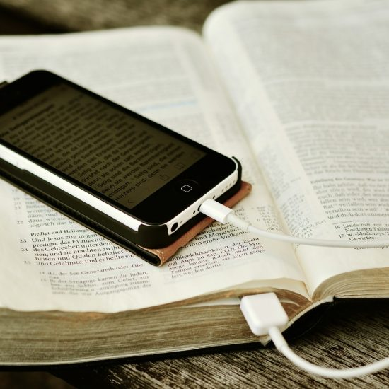Bible and cell phone