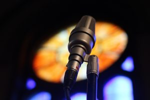 microphone and stained glass