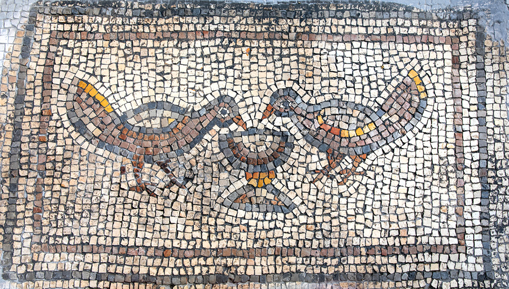 Mosaic of a pair of birds
