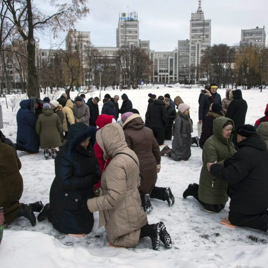 Ukrainian believers praying