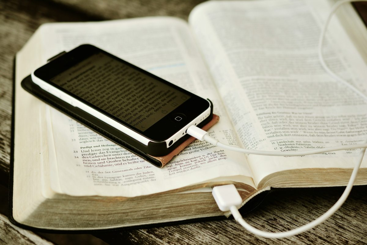 Bible and cellphone