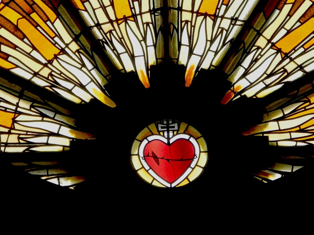 church window with heart